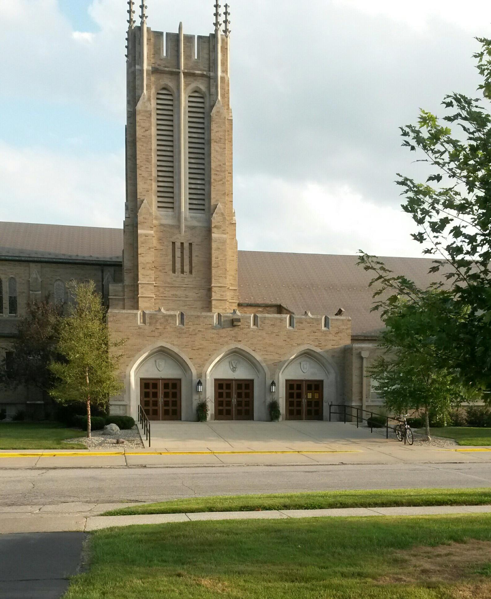 Entrance to Peace Lutheran Church in Saginaw.